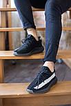 Мужские кроссовки Adidas Yeezy Boost 350 V2 Black White черные (рефлективная полоска). Фото в живую. Реплика, фото 6
