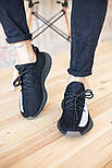 Мужские кроссовки Adidas Yeezy Boost 350 V2 Black White черные (рефлективная полоска). Фото в живую. Реплика, фото 7