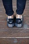 Мужские кроссовки Adidas Yeezy Boost 350 V2 Black White черные (рефлективная полоска). Фото в живую. Реплика, фото 3