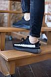 Мужские кроссовки Adidas Yeezy Boost 350 V2 Black White черные (рефлективная полоска). Фото в живую. Реплика, фото 4
