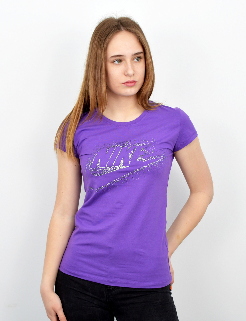 Спортивная женская футболка оптом V0220 лиловый+серебро