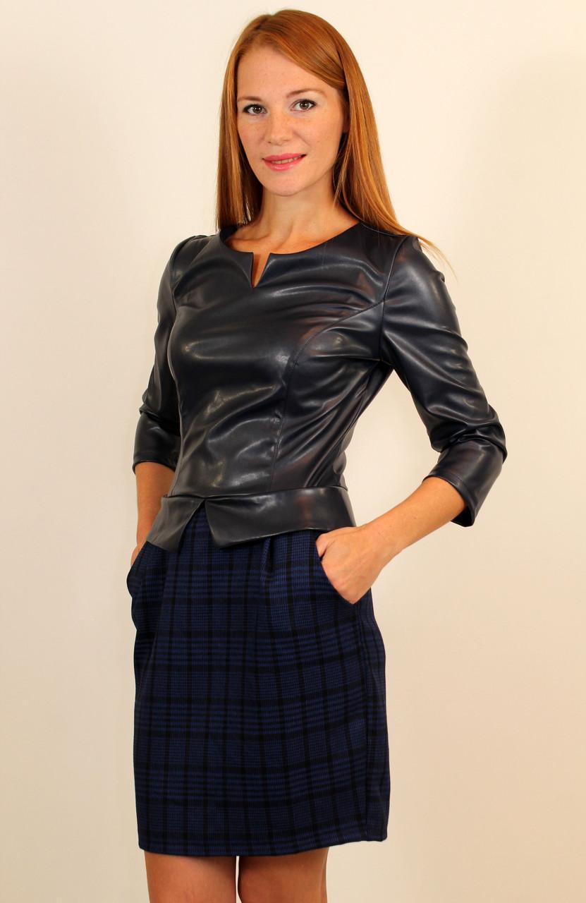 Стильное платье костюм с кожаным верхом 42-48 р