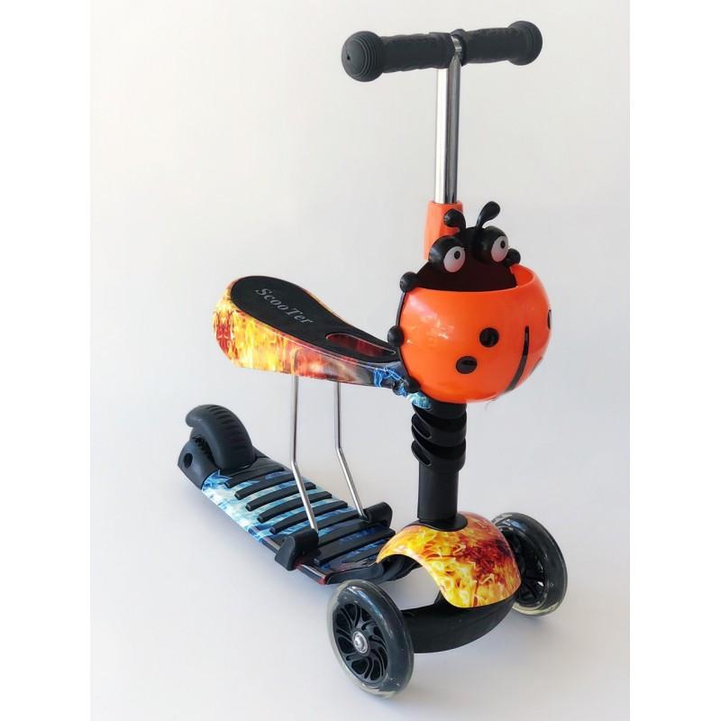 Самокат-беговел 2 в 1 Scooter Pro PP3 Божа Корівка   Помаранчевий