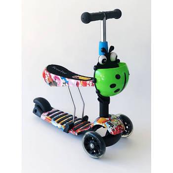 Самокат-беговел 2 в 1 Scooter Pro PP3 Божья Коровка | Черный с зеленым