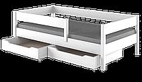 Подростковая кровать белая с матрасом и выдвижными ящиками LukDom Mix 180х90