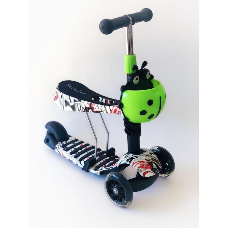 Самокат-беговел 2 в 1 Scooter Pro PP3 Божа Корівка   Чорний