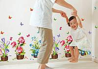 Декоративная наклейка Комнатные цветы (105х63см)