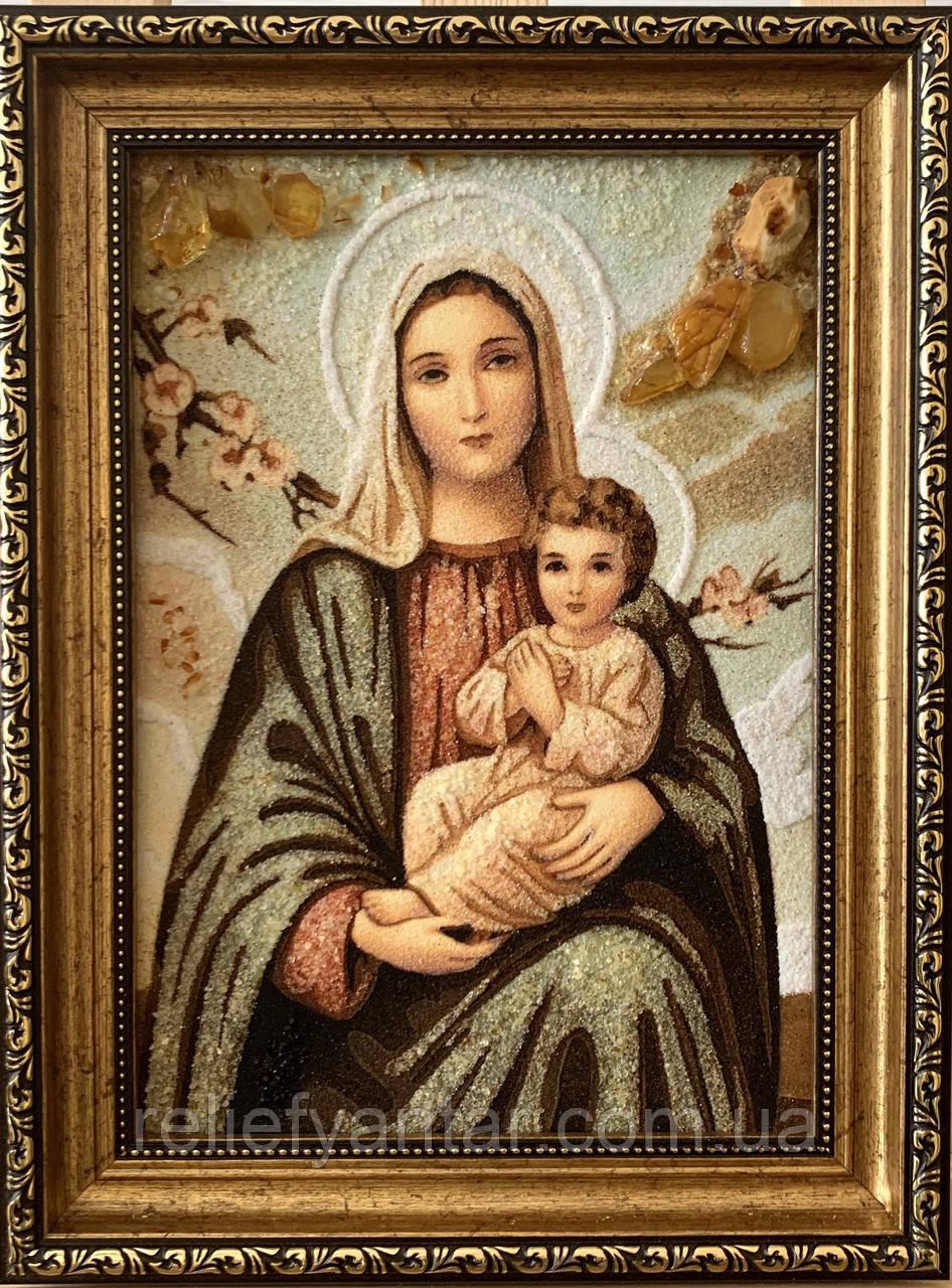 Икона янтарная Дива Мария з Иисусом , Картина -ікона з бурштина Діва Марія з Ісусом 20x30 см