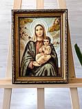 Икона янтарная Дива Мария з Иисусом , Картина -ікона з бурштина Діва Марія з Ісусом 20x30 см, фото 2