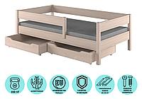 Кровать детская с матрасом и выдвижными ящиками LukDom Mix Беленый дуб 180х80
