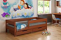 Детская кровать Польша с выдвижными ящиками и матрасом LukDom Mix Темный орех 160х80