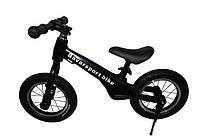 """Беговел(велобег) МОД(200) черный алюминиевый велосипед без педалей с карбоновыми колесами12"""" и ножным тормозом"""