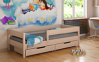 Кровать с выдвижными ящиками и матрасом детская LukDom Mix Беленый дуб 160х80
