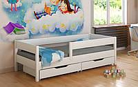 Белая кровать для детей с выдвижными ящиками и матрасом LukDom Mix 160х80