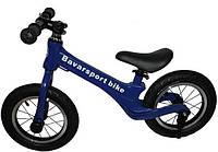 """Беговел(велобег) МОД(200) синий алюминиевый велосипед без педалей с карбоновыми колесами12"""" и ножным тормозом"""
