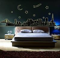 Декоративная  светящаяся наклейка ночной город  (200х70см)