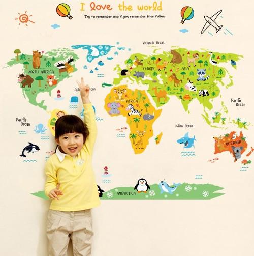 Декоративная детская наклейка карта мира   (110х88см)