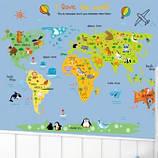 Декоративна наклейка дитяча карта світу (110х88см), фото 2