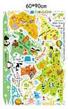 Декоративная детская наклейка карта мира   (110х88см), фото 6