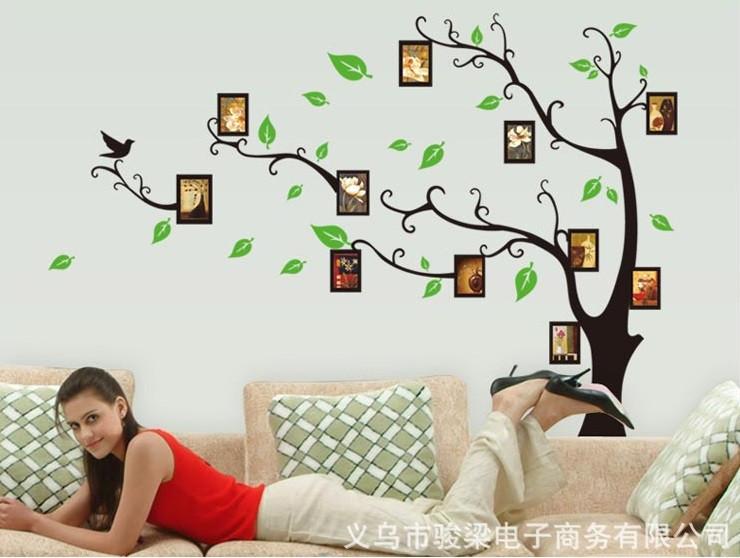 Декоративна наклейка Дерево з фоторамками (170х120см)