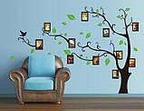Декоративна наклейка Дерево з фоторамками (170х120см), фото 4
