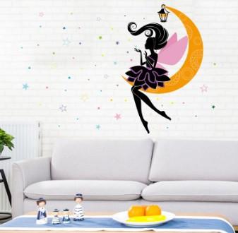Декоративна наклейка Фея на місяці (122х90см)
