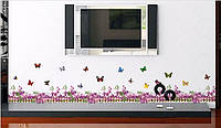 Декоративная  наклейка Забор с цветами  (200х25см), фото 1