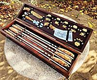 """Подарочный набор шампуров с аксессуарами для шашлыка ручной работы """"Мужской хит"""" в кейсе из бука"""