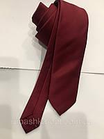 Галстук мужской Croate (Турция) однотонный гладкий вишневый (бордо),большой выбор расцветок