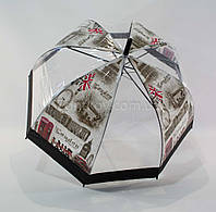 Прозрачный зонтик Mario трость грибком