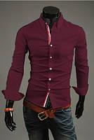 Молодежная рубашка мужская в бордовом цвете