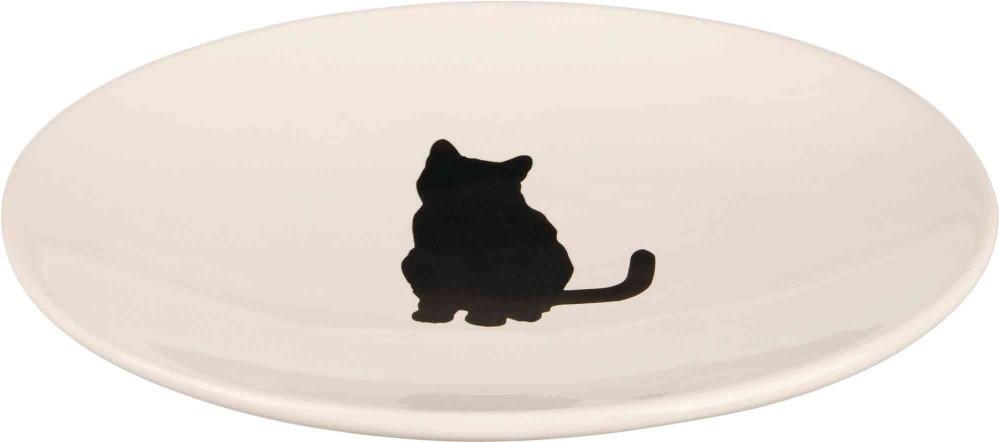 Керамическая миска плоская белая с кошкой 18*15 см для котов , Trixie