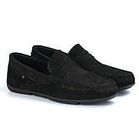 Черные перфорированные мокасины замшевые обувь больших размеров Rosso Avangard ETHEREAL Black Vel Perf BS