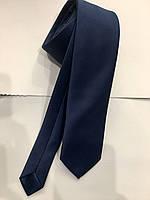 Галстук мужской Croate(Турция) однотонный гладкий синий, большой выбор расцветок