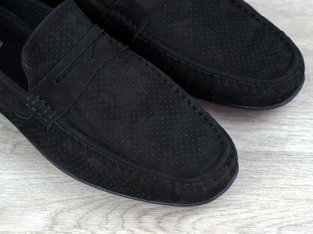 Черные перфорированные мокасины замшевые обувь больших размеров Rosso Avangard ETHEREAL Black Vel Perf BS1176678444