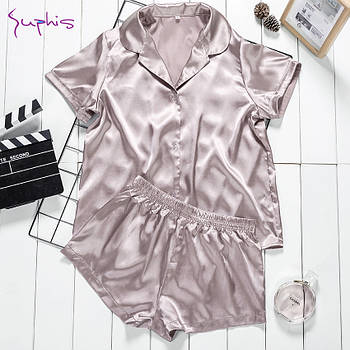 Пижама женская атласная на пуговицах. Комплект шелковый для дома, сна (бежевая) M
