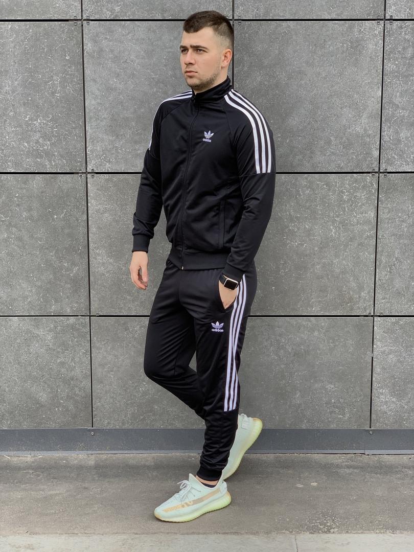 Модный мужской спортивный костюм  Адидас цвет чёрный  S, M, L, XL