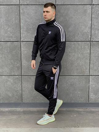 Модный мужской спортивный костюм  Адидас цвет чёрный  S, M, L, XL, фото 2