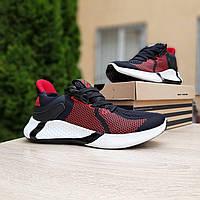 Мужские кроссовки в стиле  Adidas чёрные с красным сетка, фото 1