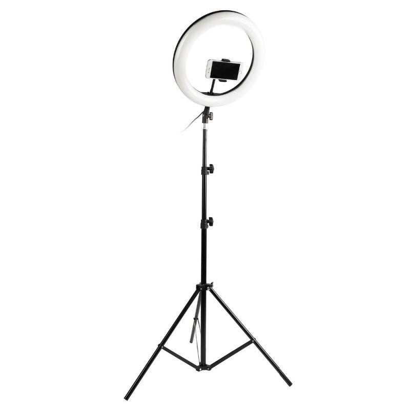 Комплект ZD666 Кільцева LED лампа 26 см + Штатив 210 см Чорний