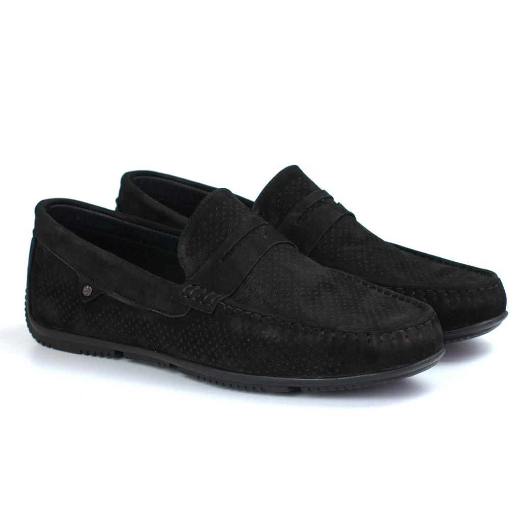 Черные замшевые перфорированные мокасины летняя обувь мужская Rosso Avangard ETHEREAL Black Vel Perf
