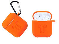 Чехол Silicone Case 2в1 (+ карабин) к наушникам Apple AirPods Orange ( Оранжевый). Качество