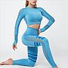 Спортивный костюм для фитнеса голубой (лосины+топ) S, M, L