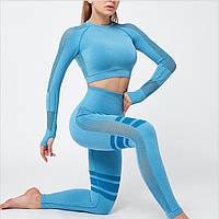Спортивный костюм для фитнеса голубой (лосины+топ) S, M, L, фото 1