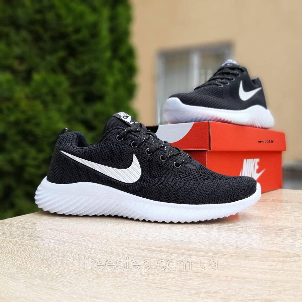 Чоловічі кросівки в стилі NIKE Air Max чорні на білому