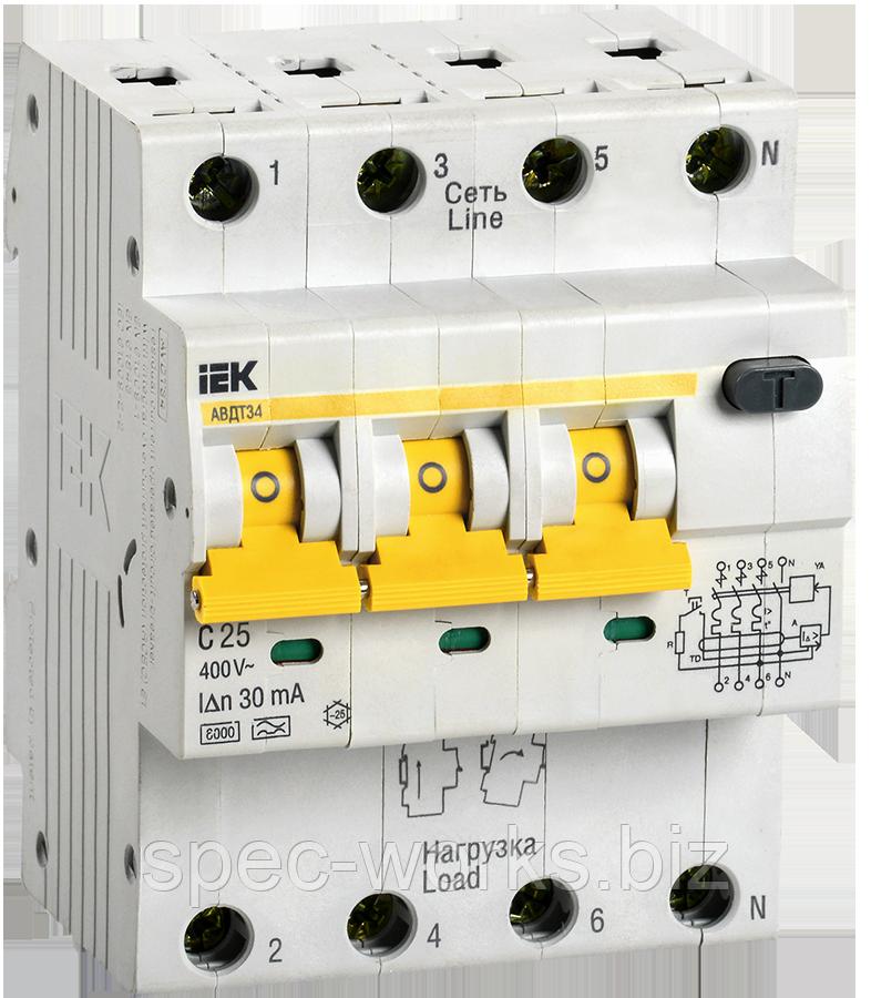 Автоматичний вимикач диференціального струму АВДТ34 C25 30мА