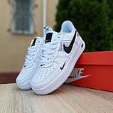 Кросівки жіночі в стилі Nike Air Force 1 LV8 низькі білі (чорна кома), фото 7