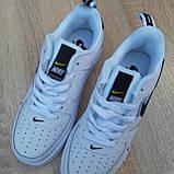 Кросівки жіночі в стилі Nike Air Force 1 LV8 низькі білі (чорна кома), фото 9