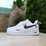 Кросівки жіночі в стилі Nike Air Force 1 LV8 низькі білі (чорна кома), фото 10