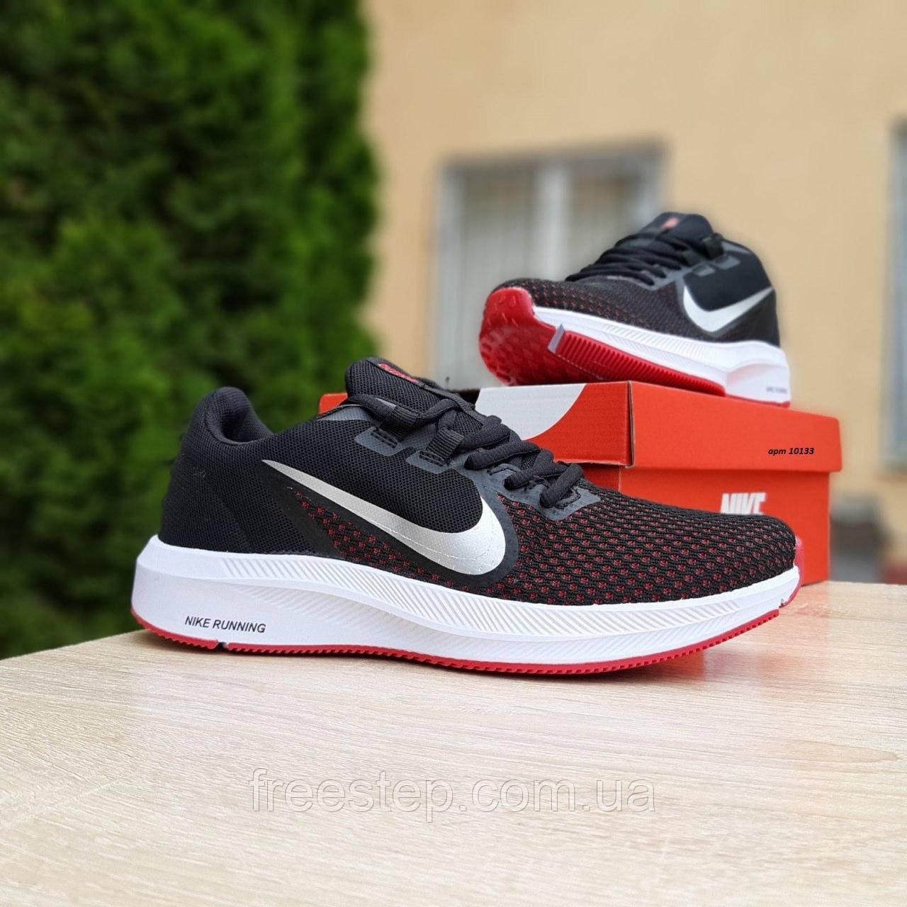 Чоловічі кросівки в стилі Nike Running чорні з білим і червоним